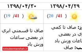 آغاز روند کاهش دمای هوای کرمانشاه از روز دوشنبه