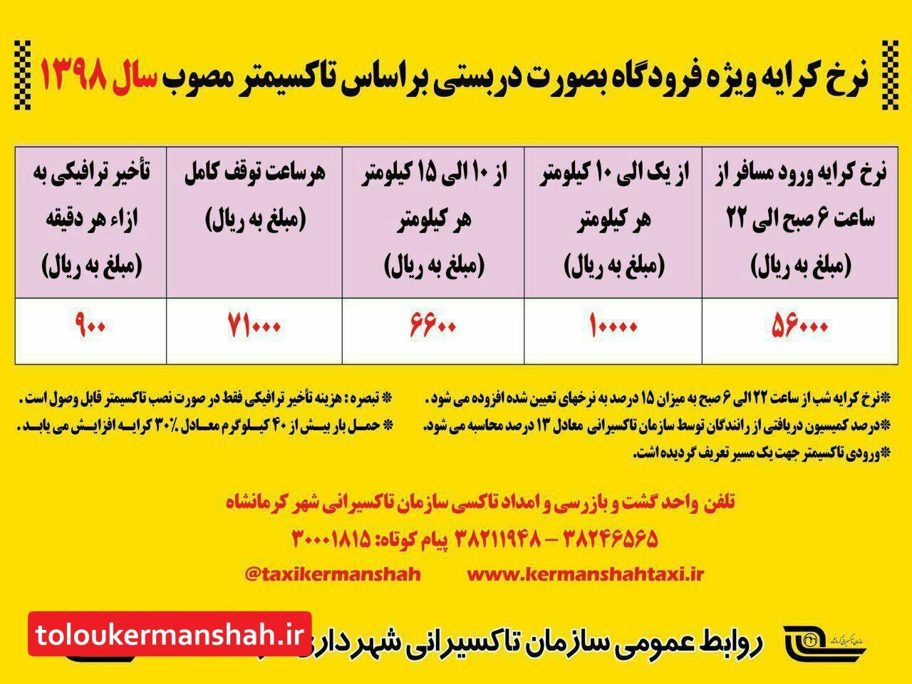 فعالیت شبانه روزی ۶۰دستگاه تاکسی در فرودگاه کرمانشاه برای جابه جایی مسافران