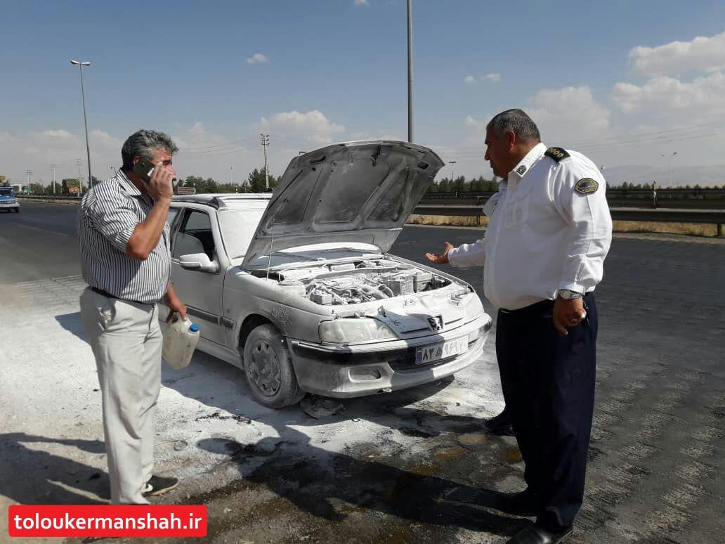 نجات جان راننده وخانواده اش از چنگال  آتش توسط پلیس راه کرمانشاه
