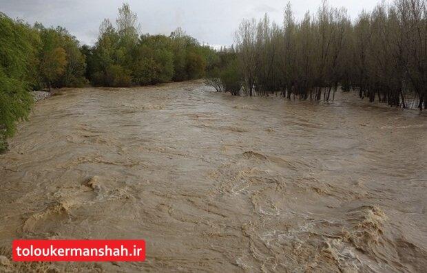 رودخانه گاماسیاب در آستانه طغیان است