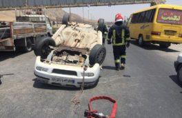 واژگونی خودرو سمند در محور کرمانشاه _ بیستون یک مصدوم برجای گذاشت